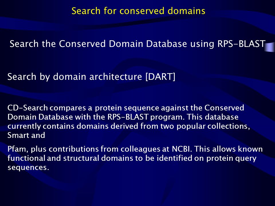 Search for conserved domains