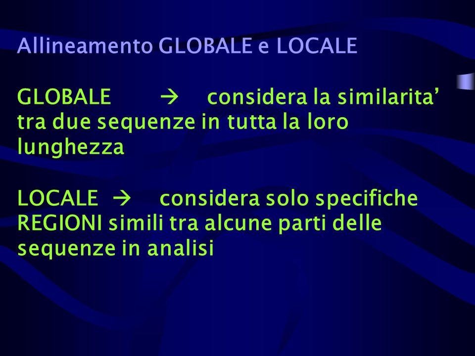 Allineamento GLOBALE e LOCALE GLOBALE. 
