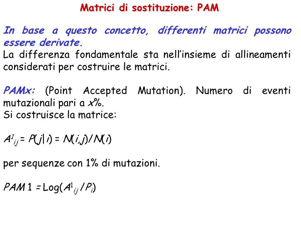 Matrici di sostituzione: PAM