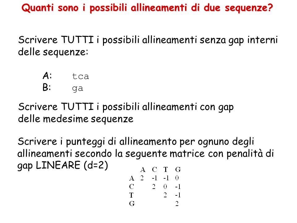 Quanti sono i possibili allineamenti di due sequenze