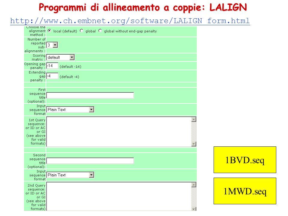 Programmi di allineamento a coppie: LALIGN