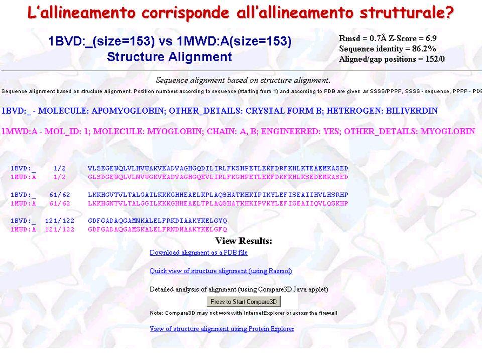 L'allineamento corrisponde all'allineamento strutturale