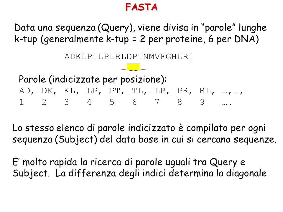 FASTA Data una sequenza (Query), viene divisa in parole lunghe. k-tup (generalmente k-tup = 2 per proteine, 6 per DNA)