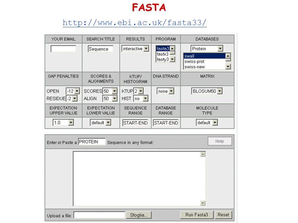FASTA http://www.ebi.ac.uk/fasta33/