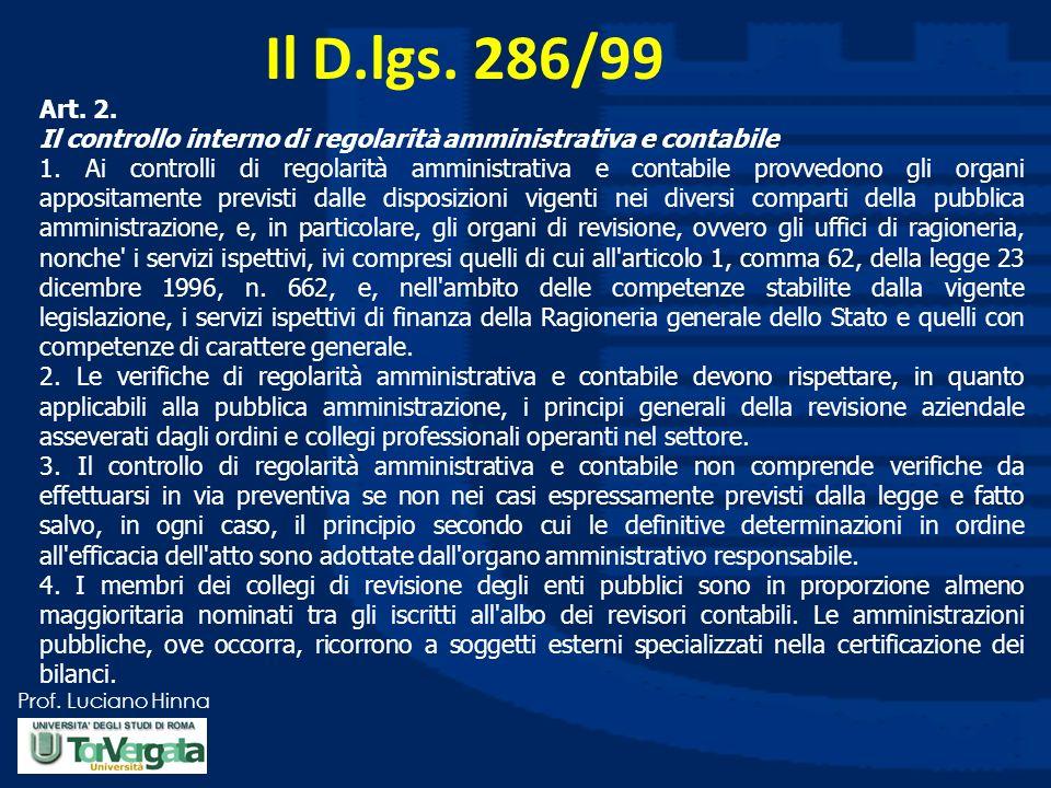 Il D.lgs. 286/99 Art. 2. Il controllo interno di regolarità amministrativa e contabile.
