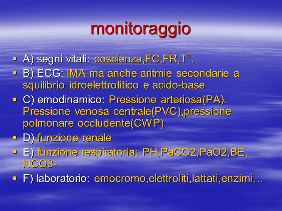 monitoraggio A) segni vitali: coscienza,FC,FR,T°.