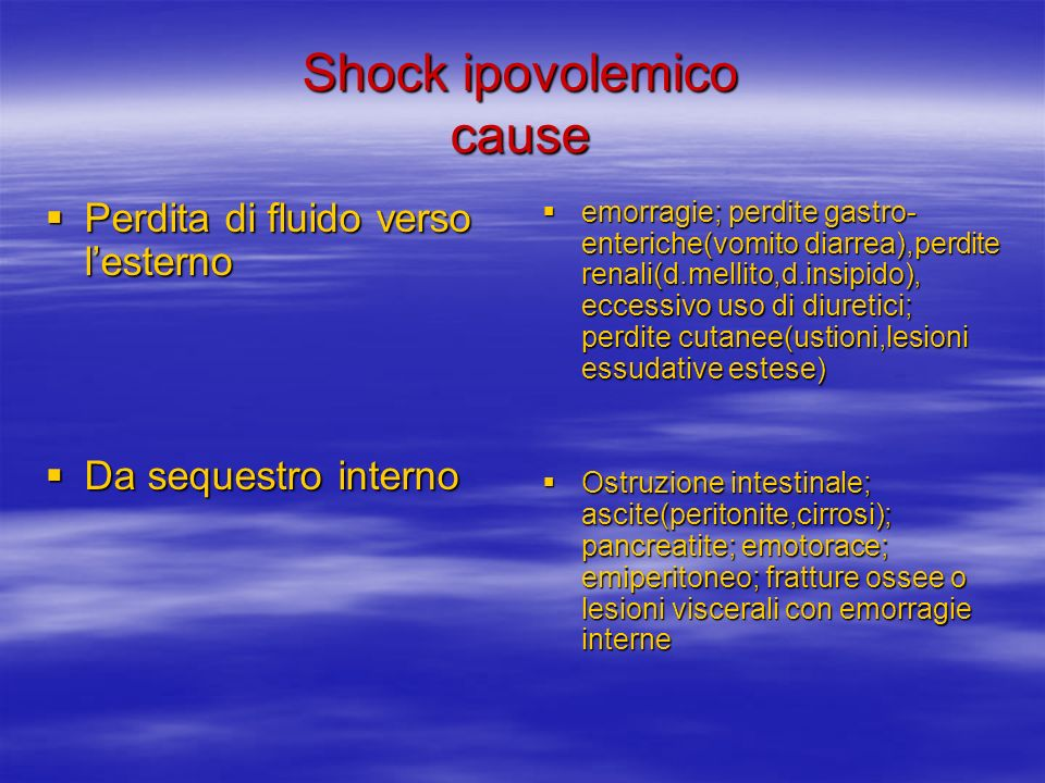 Shock ipovolemico cause