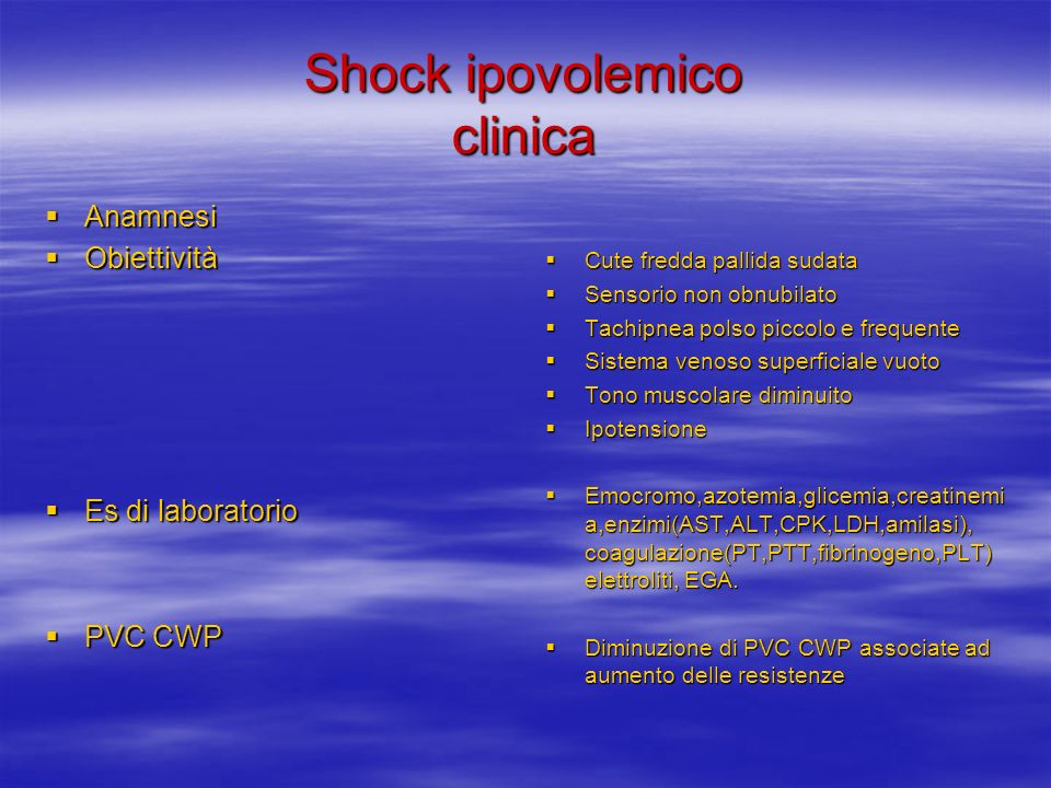 Shock ipovolemico clinica