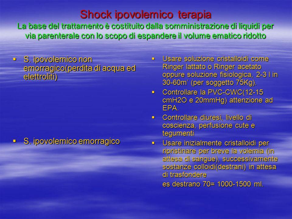 Shock ipovolemico terapia La base del trattamento è costituito dalla somministrazione di liquidi per via parenterale con lo scopo di espandere il volume ematico ridotto