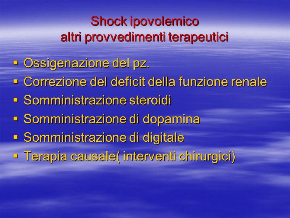 Shock ipovolemico altri provvedimenti terapeutici