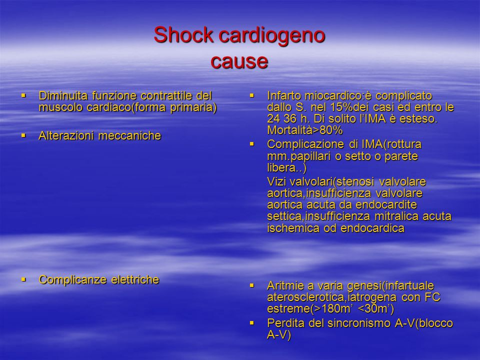 Shock cardiogeno cause