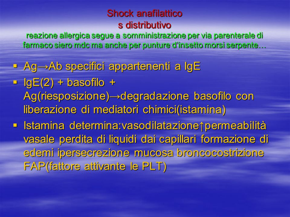 Ag→Ab specifici appartenenti a IgE