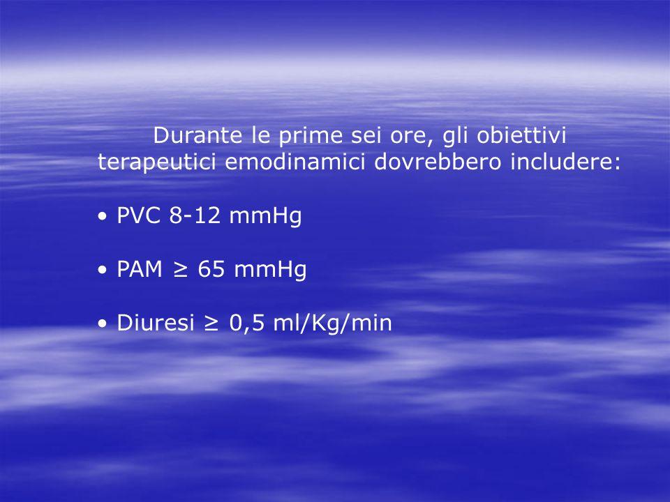Durante le prime sei ore, gli obiettivi terapeutici emodinamici dovrebbero includere: