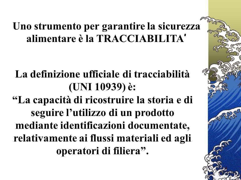 La definizione ufficiale di tracciabilità (UNI 10939) è: