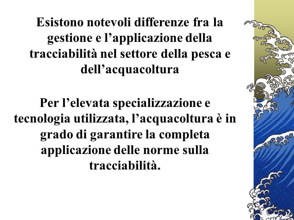 Esistono notevoli differenze fra la gestione e l'applicazione della tracciabilità nel settore della pesca e dell'acquacoltura