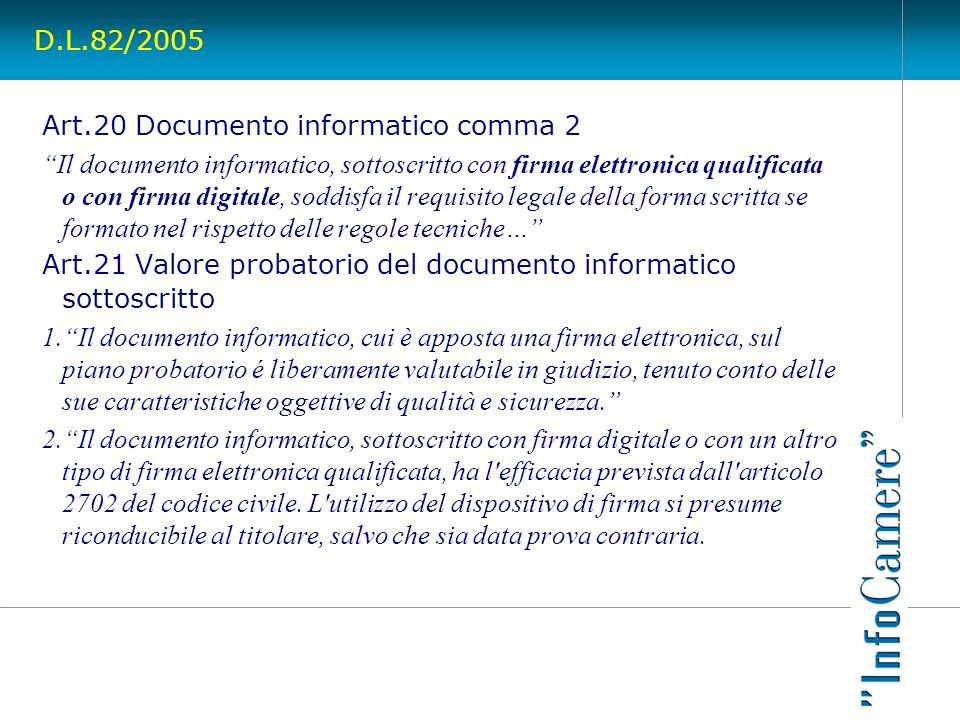 D.L.82/2005Art.20 Documento informatico comma 2.