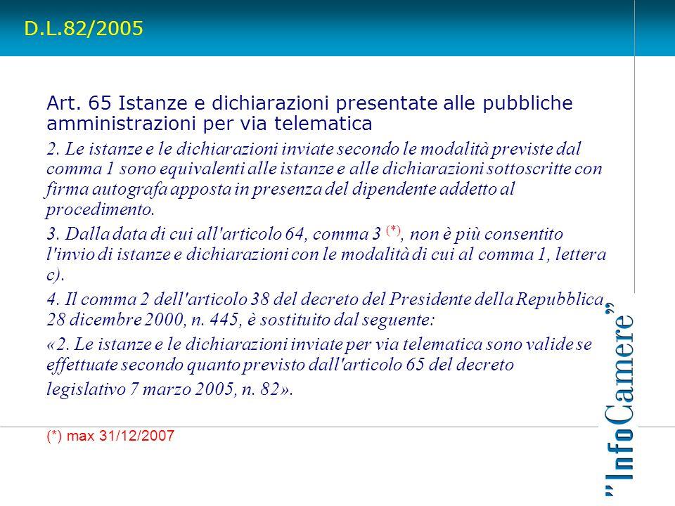 D.L.82/2005 Art. 65 Istanze e dichiarazioni presentate alle pubbliche amministrazioni per via telematica.