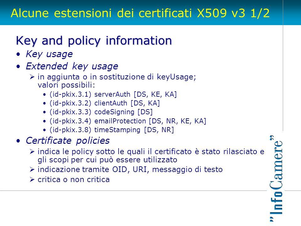 Alcune estensioni dei certificati X509 v3 1/2