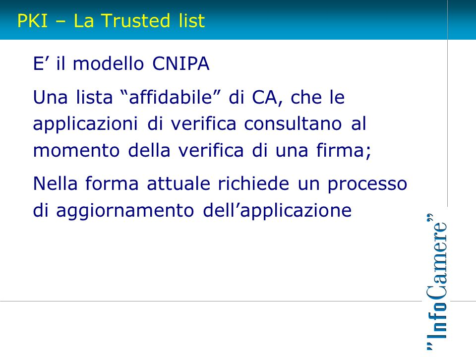 PKI – La Trusted list E' il modello CNIPA