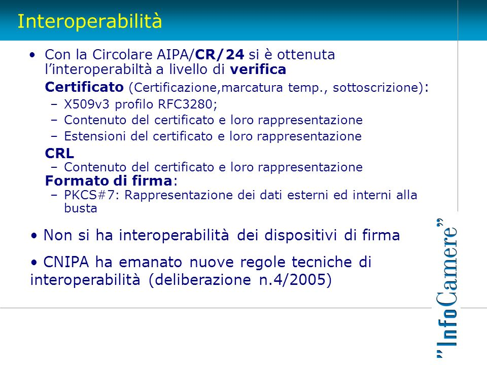 Interoperabilità Non si ha interoperabilità dei dispositivi di firma
