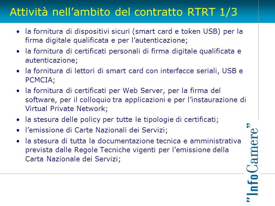 Attività nell'ambito del contratto RTRT 1/3