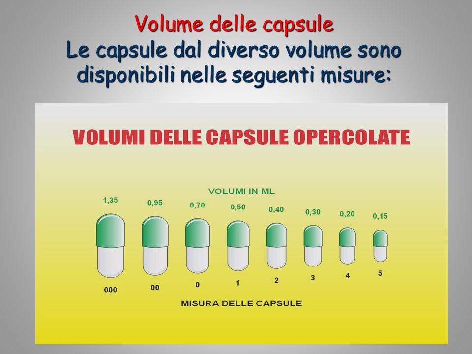 Volume delle capsule Le capsule dal diverso volume sono disponibili nelle seguenti misure:
