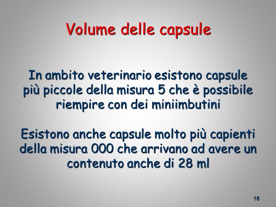 Volume delle capsule In ambito veterinario esistono capsule più piccole della misura 5 che è possibile riempire con dei miniimbutini Esistono anche capsule molto più capienti della misura 000 che arrivano ad avere un contenuto anche di 28 ml