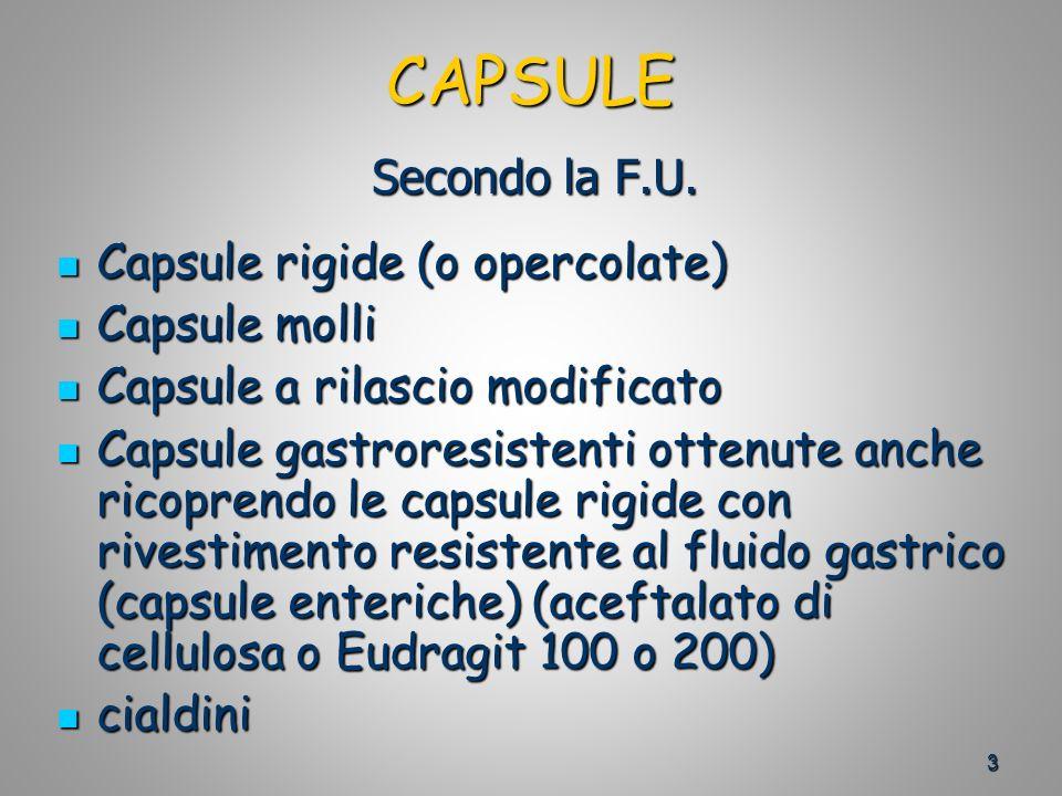 CAPSULE Secondo la F.U. Capsule rigide (o opercolate) Capsule molli
