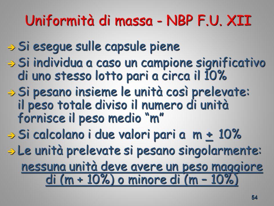 Uniformità di massa - NBP F.U. XII