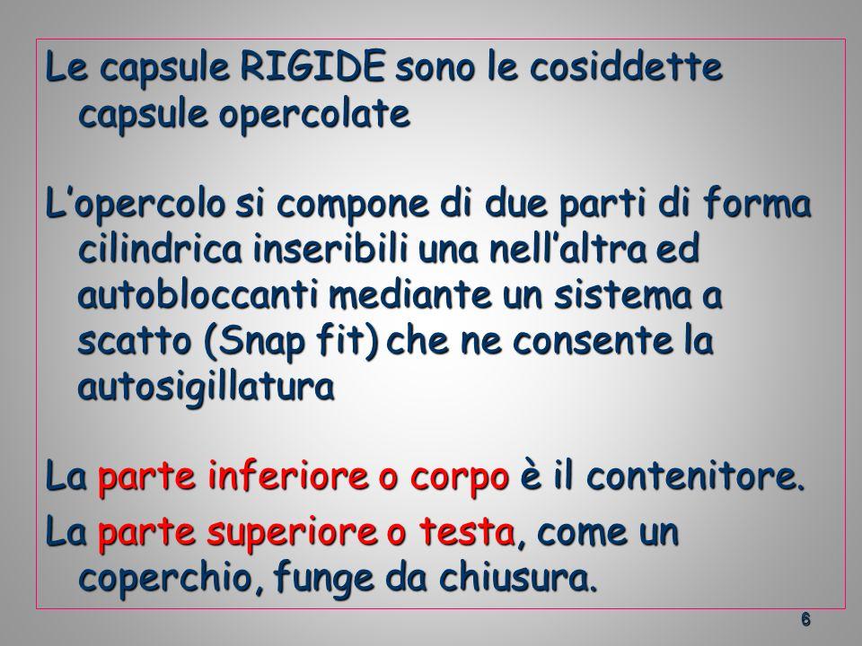 Le capsule RIGIDE sono le cosiddette capsule opercolate