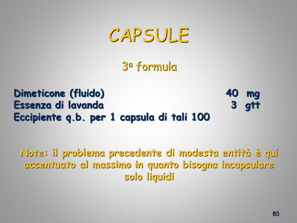 CAPSULE 3a formula Dimeticone (fluido) 40 mg Essenza di lavanda 3 gtt