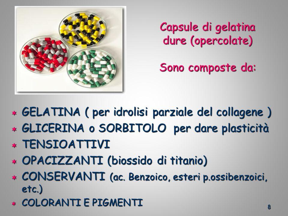 Capsule di gelatina dure (opercolate) Sono composte da: