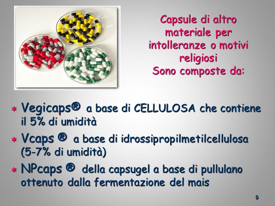 Vegicaps® a base di CELLULOSA che contiene il 5% di umidità