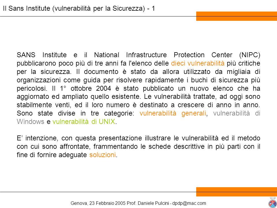 Il Sans Institute (vulnerabilità per la Sicurezza) - 1
