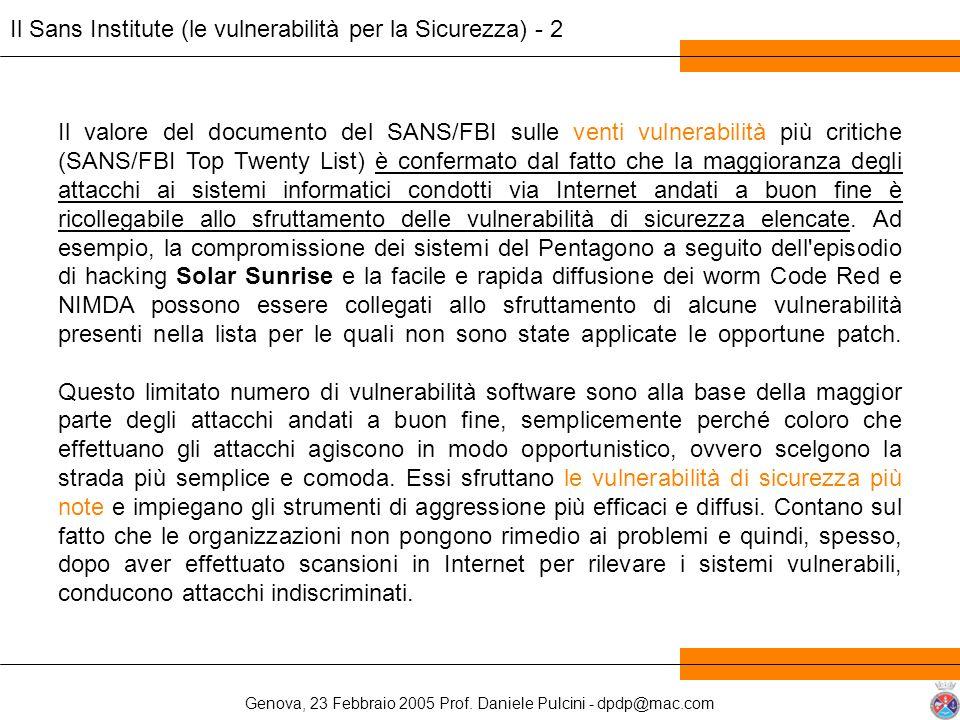 Il Sans Institute (le vulnerabilità per la Sicurezza) - 2