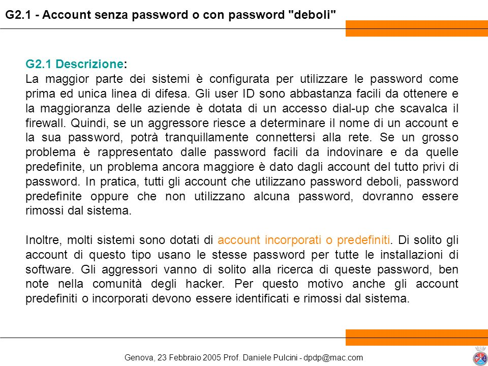 G2.1 - Account senza password o con password deboli