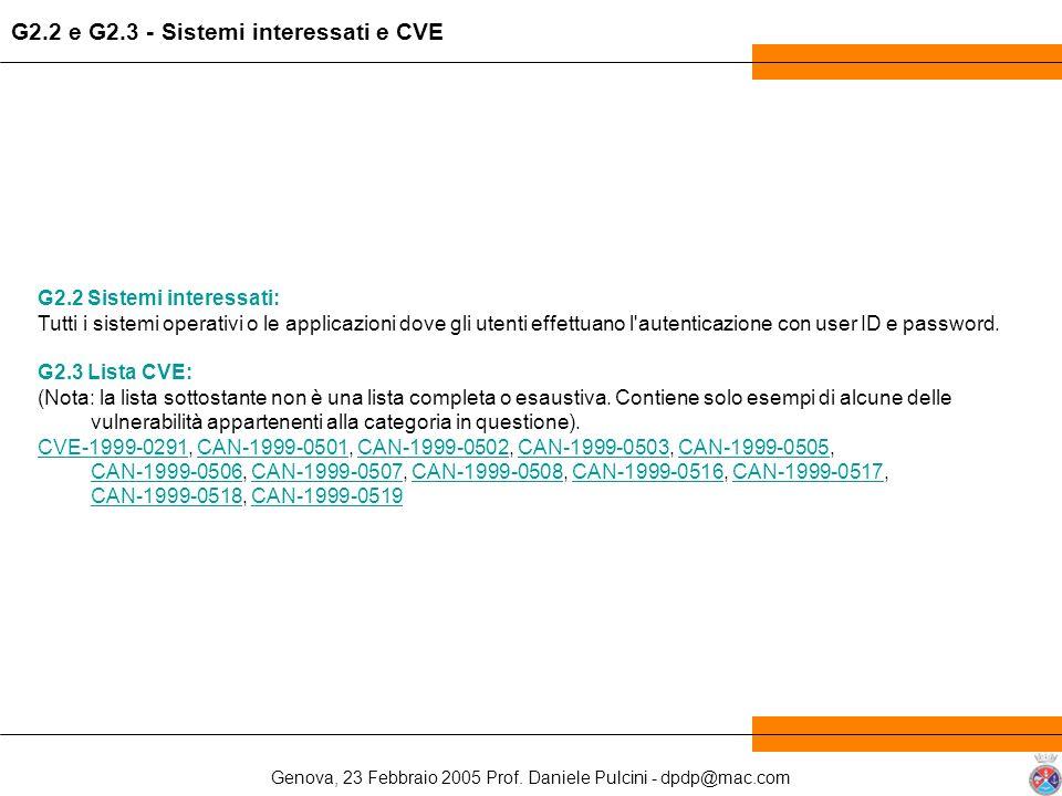 G2.2 e G2.3 - Sistemi interessati e CVE
