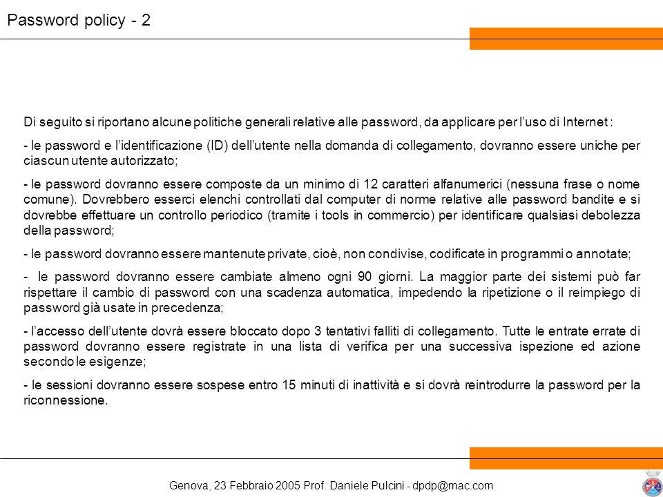 Genova, 23 Febbraio 2005 Prof. Daniele Pulcini - dpdp@mac.com