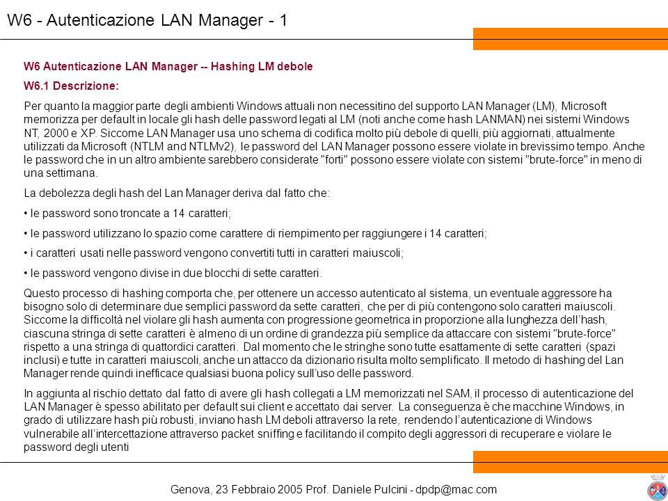 W6 - Autenticazione LAN Manager - 1