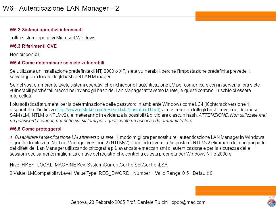 W6 - Autenticazione LAN Manager - 2