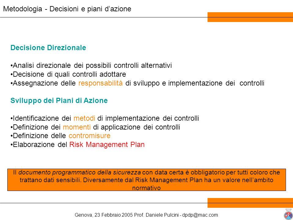 Metodologia - Decisioni e piani d'azione