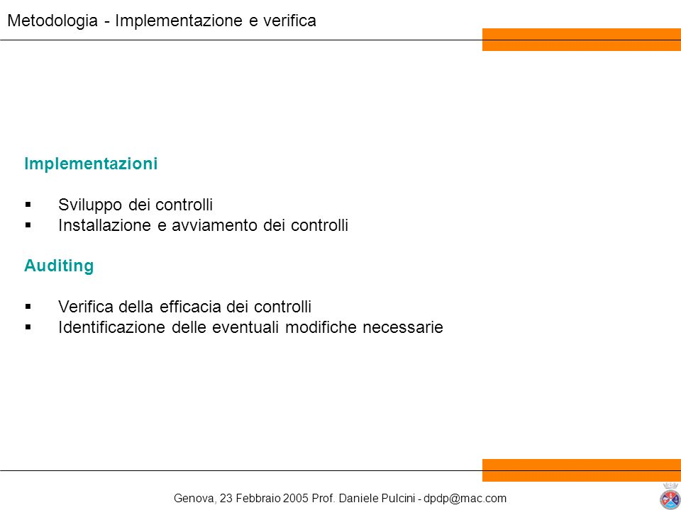 Metodologia - Implementazione e verifica
