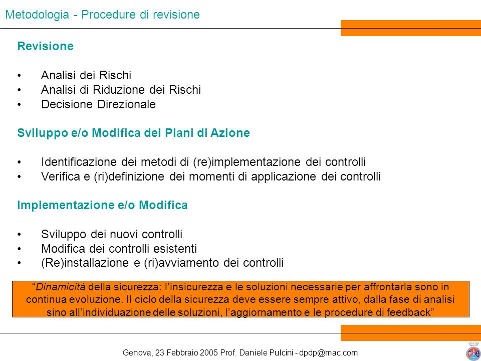 Metodologia - Procedure di revisione