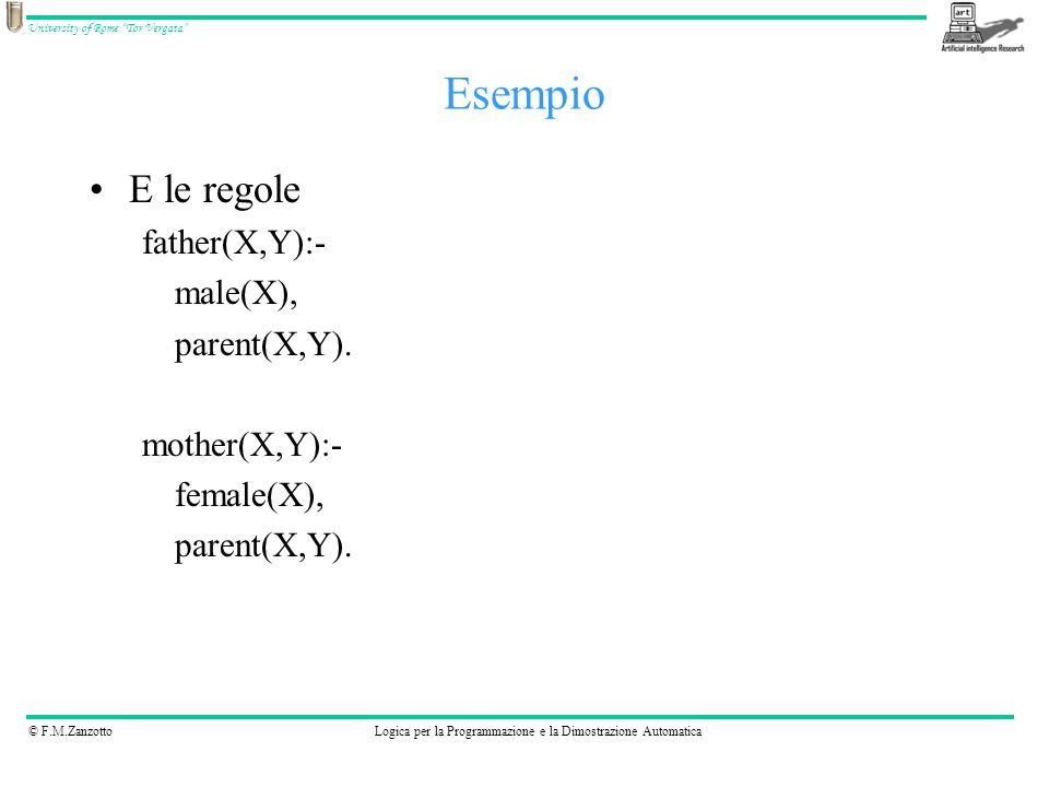 Esempio E le regole father(X,Y):- male(X), parent(X,Y). mother(X,Y):-