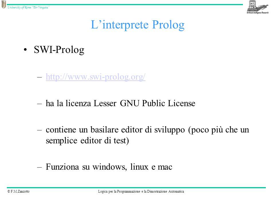 L'interprete Prolog SWI-Prolog http://www.swi-prolog.org/