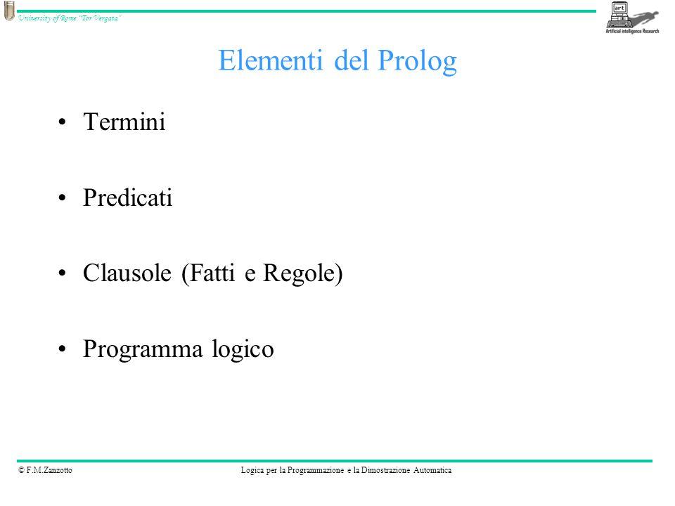Elementi del Prolog Termini Predicati Clausole (Fatti e Regole)