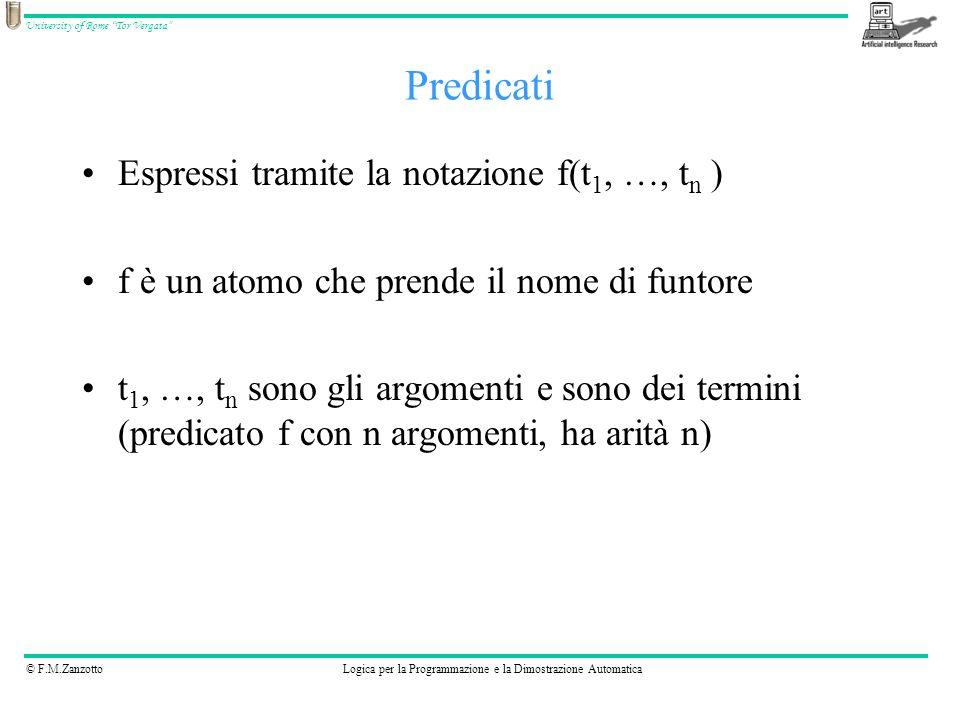 Predicati Espressi tramite la notazione f(t1, …, tn )