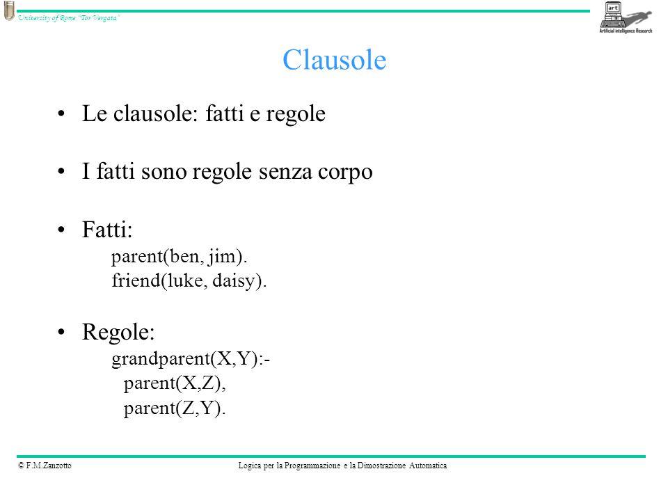 Clausole Le clausole: fatti e regole I fatti sono regole senza corpo