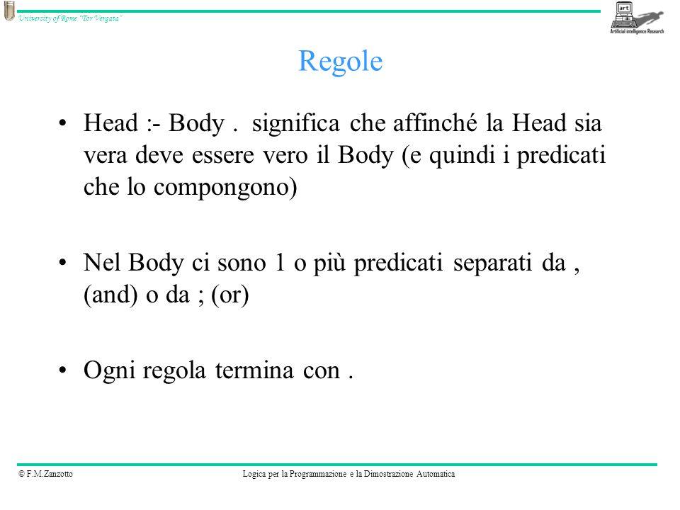 Regole Head :- Body . significa che affinché la Head sia vera deve essere vero il Body (e quindi i predicati che lo compongono)