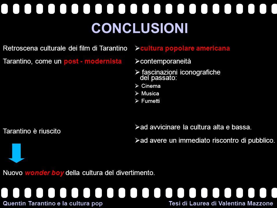 CONCLUSIONI Retroscena culturale dei film di Tarantino